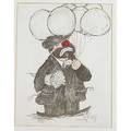 Seven cartoons caricature othmar ernst swiss b 1937 two handcolored prints and off she goes 1956 boo room lala 1958 both framed along with five other drawings three framed two fac