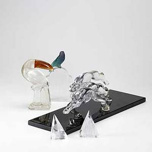 Daum five glass sculptures brabois depicting leaping greyhounds signed and numbered together with four other crystal sculptures one with broken base all marked greyhounds 7 x 24 x 8
