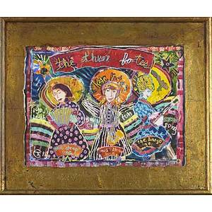 Jane gilday american b 1951 mixed media on paper the three fates artist framed signed dated 1996 and titled 14 14 x 18 58 sight