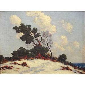 Francis dixon american 18791967 oil on canvas of a coastal landscape in winter framed signed 12 x 16