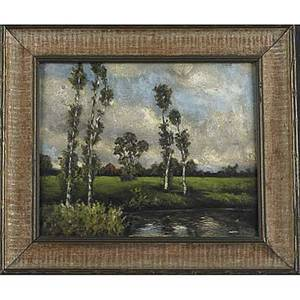 Two landscapes arthur marschner american 18841950 oil on artist board of a pastoral landscape framed signed 8 x 9 34 unknown artist oil on panel of landscape with pond and tall trees f