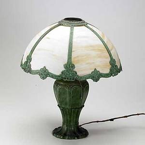 Victorian white metal table lamp with domed slag glass shade unmarked 22 x 18 dia