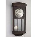 Junghans regulator clock mahogany case with brushed stainless face and beveled glass ca 1930 30 x 12 12 x 7