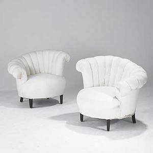 Art deco pair of upholstered chairs with channel backs 20th c 32 x 37 x 36