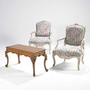 Louis xv french style pair of armchairs with painted frames and floral upholstery together with lifttop piano bench 20th c chair 38 x 25 12 x 29