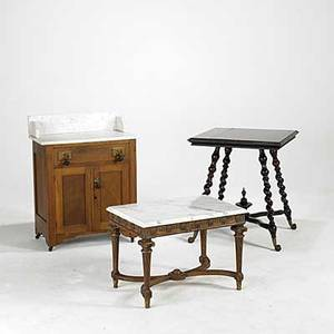 Furniture grouping victorian marble topped washstand spiral leg lamp table and marble topped coffee table 19th20th c washstand 33 x 26 x 15