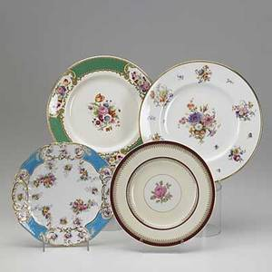 English porcelain thirtyfour plates twelve floral transfers by caldon ltd and twelve floral transfers by copeland etc largest 11