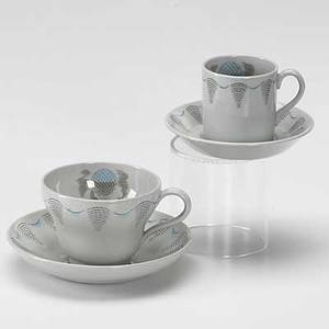 Eric ravilious wedgwood eleven teacups and saucers and eleven espresso cups and saucers in the travel pattern marked