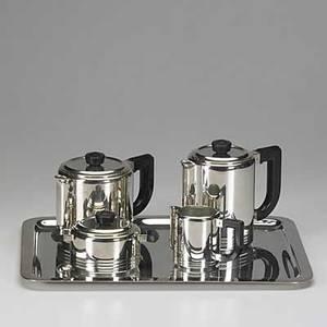 Gallia christofle fivepiece art deco silverplate tea set includes coffee pot teapot creamer sugar and tray