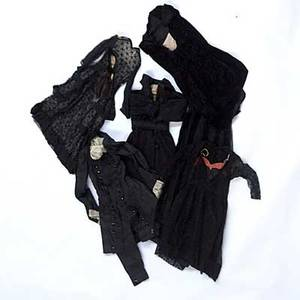 Ladies victorian clothing six items primarily mourning dress 19th20th c coat with lace collar sheer black lace dress with slip velvet blouse and skirt sheer lace skirt with slip evening coa