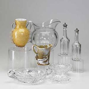 Glass box lot approx thirty pieces include pair of silvertopped cruets orrefors vase westmoreland flying swan agate pitcher cut glass dish etc tallest 11