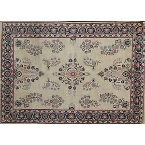 Oriental rug room size red pink and blue on beige background 20th c 107 x 73
