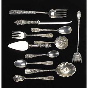 Kirk reposse silver flatware twentytwo pieces include eleven cake forks two 5 12 teaspoons pierced olive spoon 5 spoon 5 18 berry spoon 6 sugar spoon similar hh serving fork and four