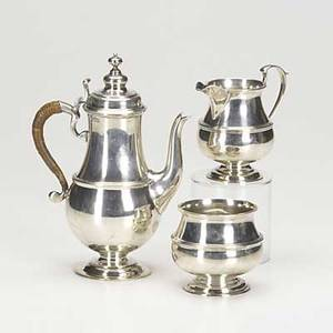 Crichton brothers english silver coffee set coffeepot open creamer sugar bowl in simple baluster form with wicker wrapped handle early 20th c 2598 ot gw tallest 8