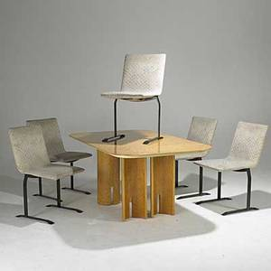 Saporiti italia burlwood dining table with insert and five bronze and upholstered side chairs all with foil labels table 28 12 x 63 x 39 12 insert 24 chair 34 x 19 x 24