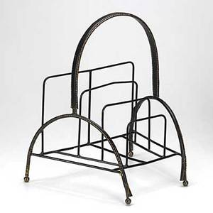Jacques adnet attr magazine stand of leather covered enamel steel 18 12 x 15 12 x 13