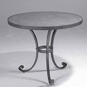 French modern enameled hammered steel center table with mirrored top unmarked 30 12 x 36 dia