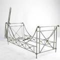 Maison jansen brushed steel bed frames with decorative brass mounts some missing hardware 40 x 88 x 38