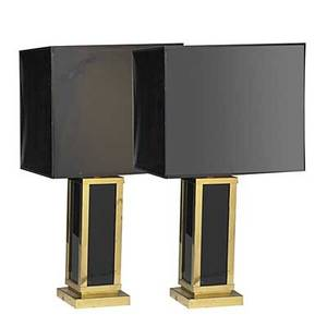 Maison jansen fine pair of brass and acrylic lamps with painted paper shades unmarked 32 12 x 17 sq