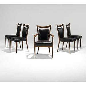 Erno fabry set of five sculpted walnut dining chairs unmarked armchair 37 x 23 12 x 24