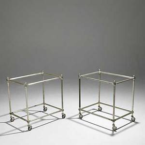 Aldo tura pair of silverplate bar cart bases missing glass shelves marked italy 24 x 23 x 16 34