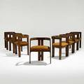 Afra and tobia scarpa gavina set of eight walnut pigreco chairs gavina foil labels 27 14 x 22 12 x 17