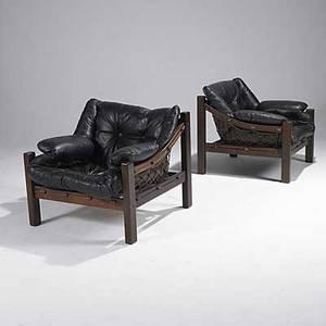 Jean gillon italma brazil pair of jacaranda and leather club chairs italma labels 31 x 34 x 33