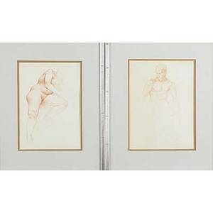 Figure and nude drawings six works of art framed martha mayer erlebacher american 20th c two sepia crayon drawings of nudes ca 1980 mats olsson american 20th two pen and ink drawings of