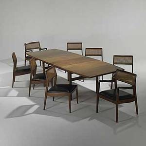 Jens risom jens risom design walnut wicker and leather table and eight chairs two leaves unmarked table 29 12 x 76 x 42 leaves 18 armchair 32 x 22 12 x 21