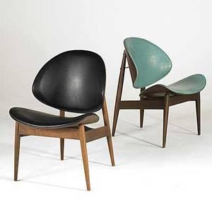 Danish modern pair of teak vinyl and brass lounge chairs unmarked 31 x 22 x 27