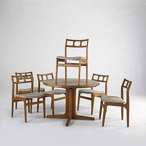 Danish modern teak dining table with 20 leaf and six dining chairs all labeled table 28 12 x 42 dia