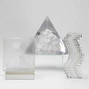 Marc de rosny jeanmichel folon and richard lauret daum nancy three abstract glass sculptures two with original presentation cases and stands each with name plate all signed lauret 9 x 11 1