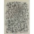 20th c work on paper charcoal on paper framed signed darvas and dated 1959 23 x 17 sight