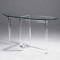 Les prismatiques acrylic and glass console table stamped signature 33 x 60 x 16