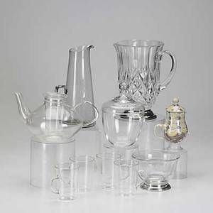 Modern design ten pieces style of wagenfeld bauhaus teapot and four cups charcoal glass water pitcher with applied handle bjorn winblad face creamer etc tallest 8 34