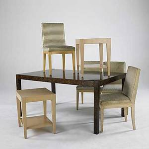 Modern oil drop dining table with two 18 leaves together with four upholstered dining chairs and pair of matching occasional tables dining table 29 x 62 x 38