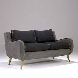 Ernst schwadron sofa upholstered in chenille on flared bleached mahogany legs 29 12 x 54 12 x 33
