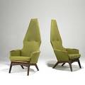 Adrian pearsall craft assoc pair of sculpted walnut and upholstered lounge chairs unmarked 53 x 31 x 30