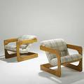 Lou hodges california design group pair of oak lounge chairs ca 1974 unmarked 28 x 27 x 34