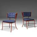 Tony duquette pair of enameled steel and upholstery chairs unmarked 32 14 x 22 x 25