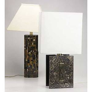 Modern lighting two table lamps stone clad with brass accents and horn clad taller 30 12