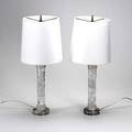 Contemporary lighting pair of columnar rock crystal table lamps with matching shades 24 x 9 dia