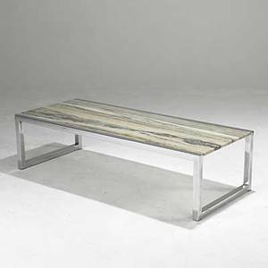Style of milo baughman marble and chromed steel coffee table together with gaetano scolari chromed steel fixture in asfound condition unmarked 15 x 58 x 24