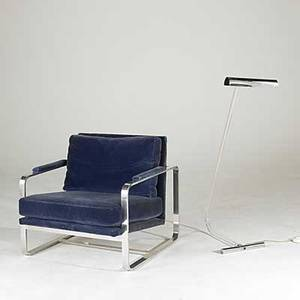 Milo baughman thayer coggin metal lounge chair together with lucite and chromed steel floor lamp chair 29 x 29 x 34 and lamp 43 12 x 14 x 20 12