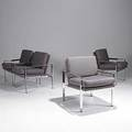Milo baughman thayer coggin set of four chromed steel armchairs unmarked 31x 25 x 29