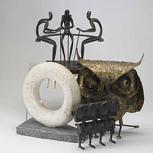 Curtis jere etc bronze washed metal owl signed c jere 69 together with three abstract modern sculptures owl 15 x 12 x 8