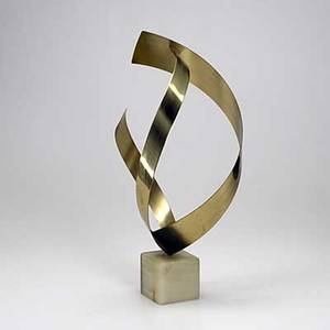 Curtis jere abstract table top sculpture with brass ribbons set in a quartz base signed d c jere 1980 24 x 10 12 dia