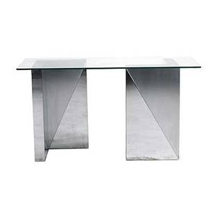 Style of paul evans bright steel and brushed steel console table with plate glass top 29 12 x 54 x 22