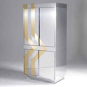 Style of paul evans four door chrome and brass cabinet 72 x 36 x 22