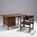 Style of harvey probber walnut desk and armchair unmarked desk 29 12 x 54 x 30